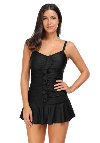 Black Ruched Ruffled Swimsuit
