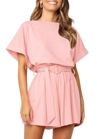 9bfe9b76a93 Light Pink Elastic-Waist Short Sleeves Belted Loose Romper