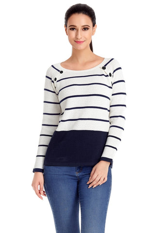 Navy and White Front Buttons Textured Striped Sweater