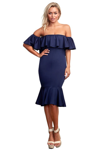 Navy Ruffled Off-Shoulder Mermaid Midi  Dress
