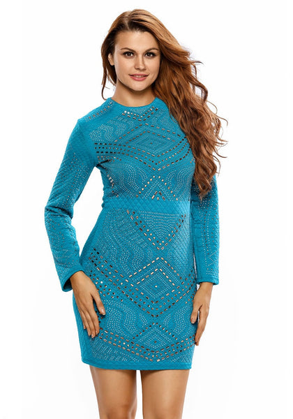 Front view of pretty model wearing teal jeweled quilted dress