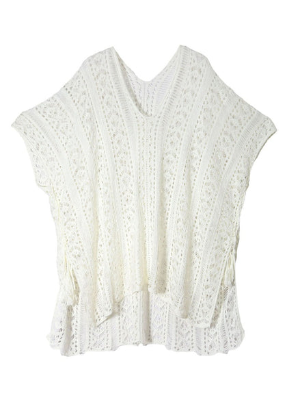 Front view of pretty white crochet lace-up side beach cover-up 3D image