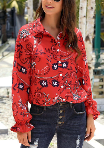 Red V-Neckline Boho Floral Print Button-Up Loose Top