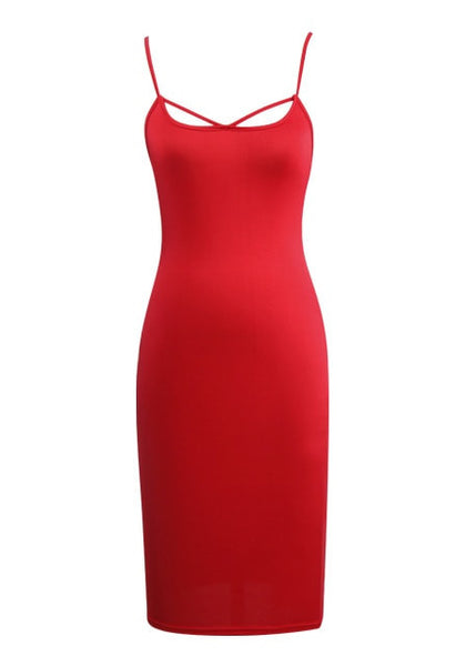Front view of red lace-up back bodycon dress