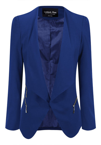 Front view of royal blue draped blazer