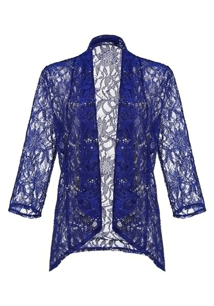 Front view of royal blue floral lace sequins sheer cardigan 3D image