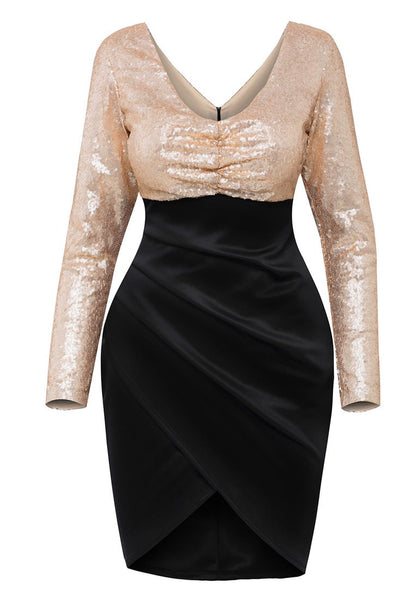 Front view of sequin long sleeves wrap bottom dress' 3D image
