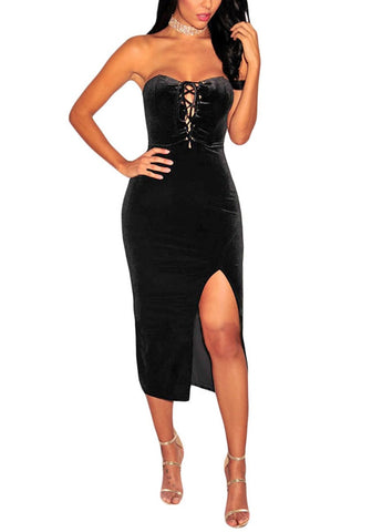 Black Lace-Up Strapless Velvet Dress