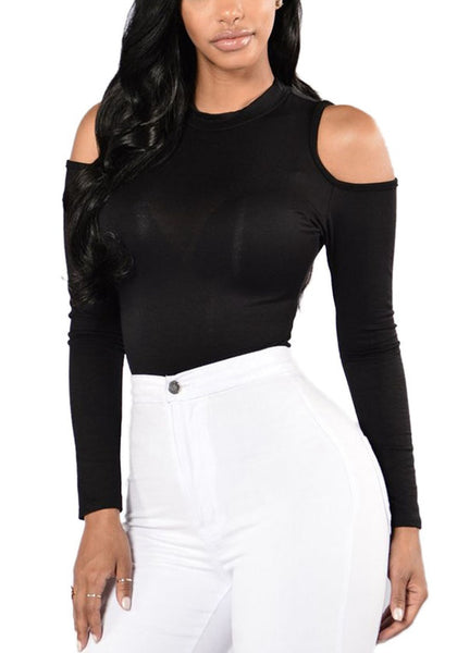 Front view of sexy model wearing black cold-shoulder formfitting bodysuit