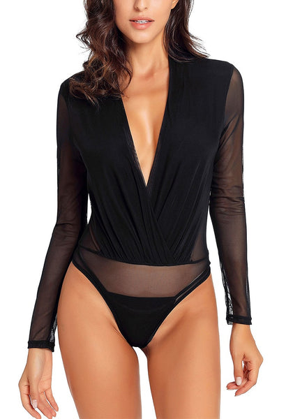 Front view of sexy model wearing black long sleeves surplice neckline sheer mesh bodysuit