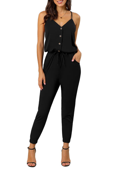 Front view of sexy model wearing black spaghetti straps belted button-up jumpsuit