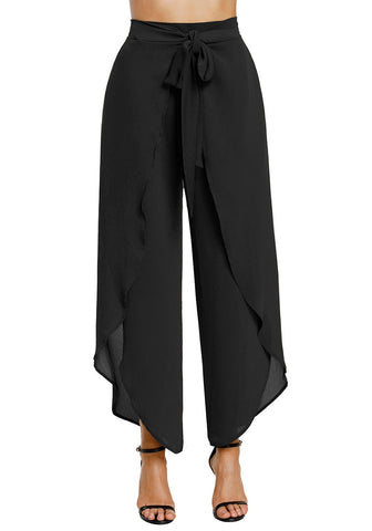 Black Tie Front Side-Slit Tulip Chiffon Wide-Leg Pants