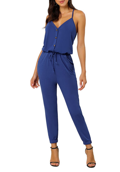 Front view of sexy model wearing blue spaghetti straps belted button-up jumpsuit
