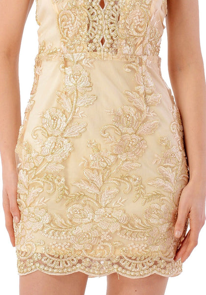 Front view of sexy model wearing champagne floral embroidered scallop slip dress