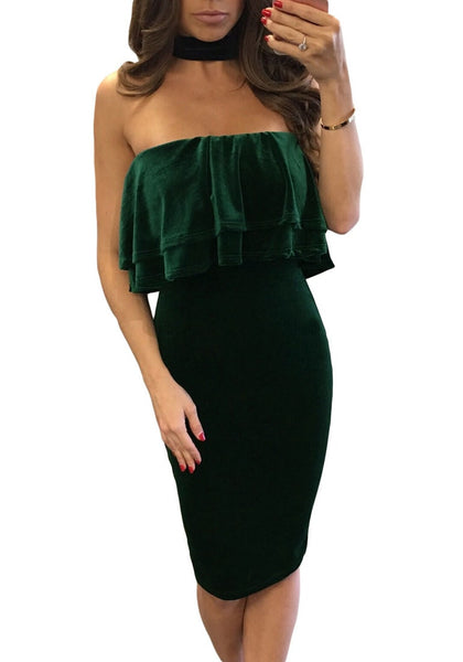 Front view of sexy model wearing green velvet ruffled tube choker dress