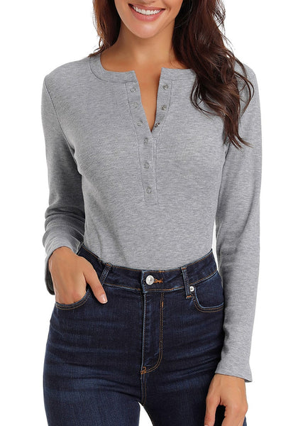 Front view of sexy model wearing grey melange long sleeves henley bodysuit