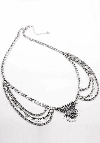 Front view of silver boho layered belly chain