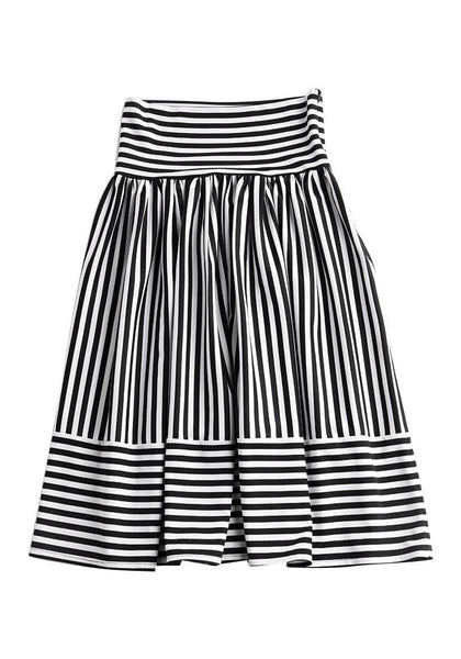 Front view of striped midi skirt