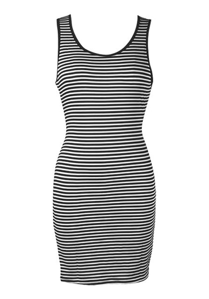 Front view of striped racerback tank dress