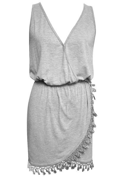 Front view of surplice wrap dress