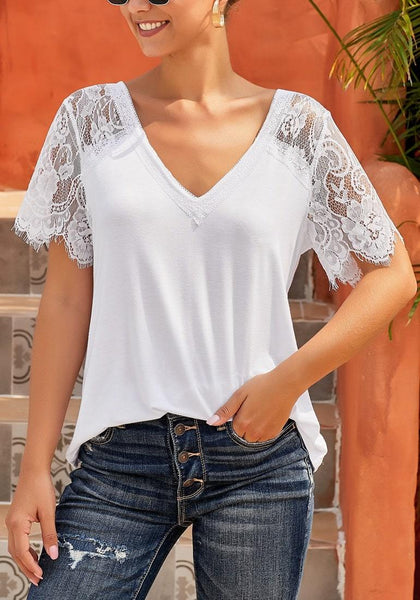Front view of white crochet lace short sleeves V-neckline top