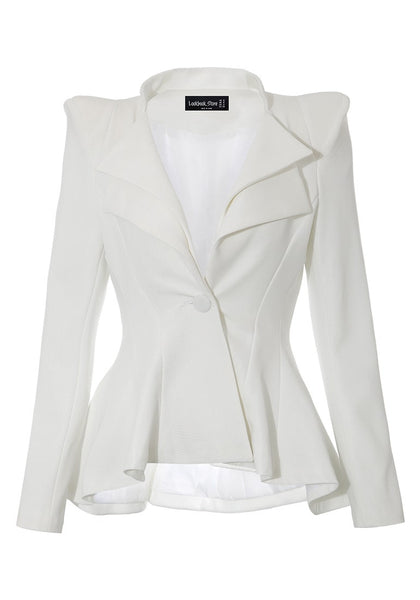Front view of white double lapel fit-and-flare blazer