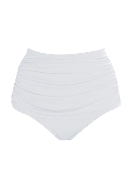 Front view of white high waist ruched swim bottom's 3D image