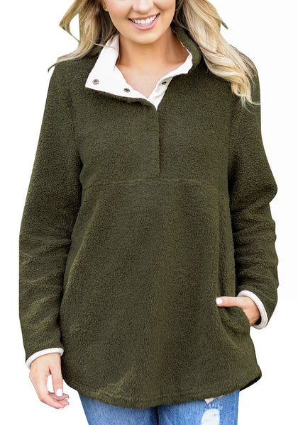 Front view of woman in army green button-front fleece pullover