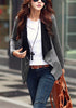 Front view of woman in grey oblique zipper cardigan