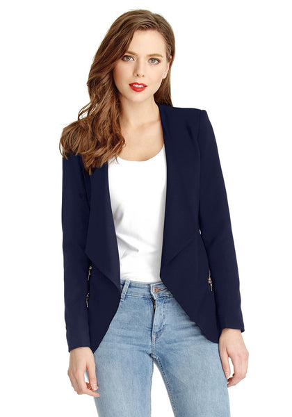 Front view of woman in navy blue draped blazer