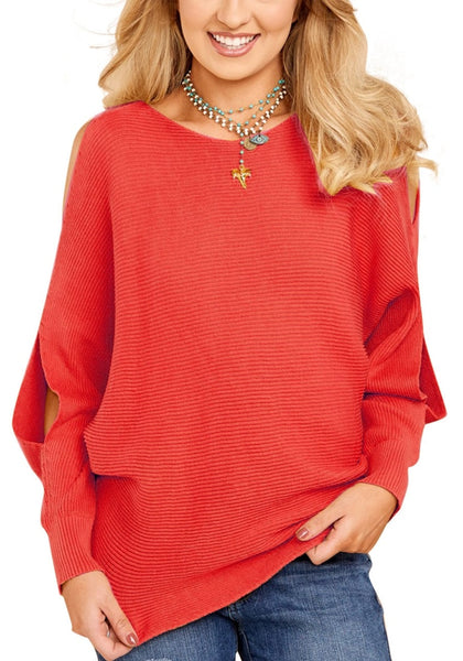Front view of woman in red cutout slit sweater