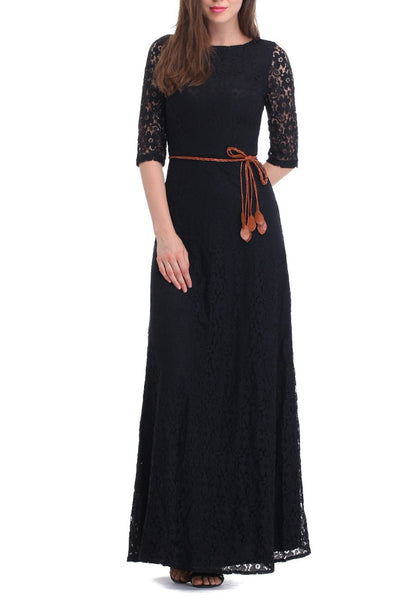 Front view of woman posing in a black maxi lace dress