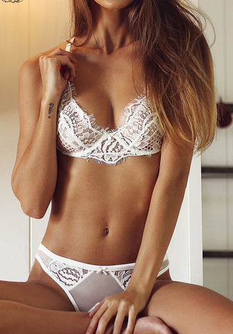White Eyelash Lace Trim Lingerie Set