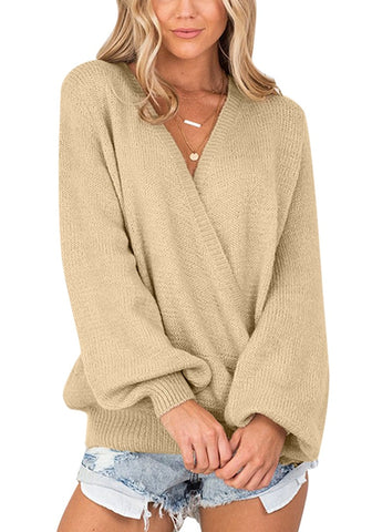Apricot Lantern Sleeves Surplice Sweater