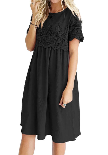 Front view of woman wearing black hollow out lace keyhole-back shift dress