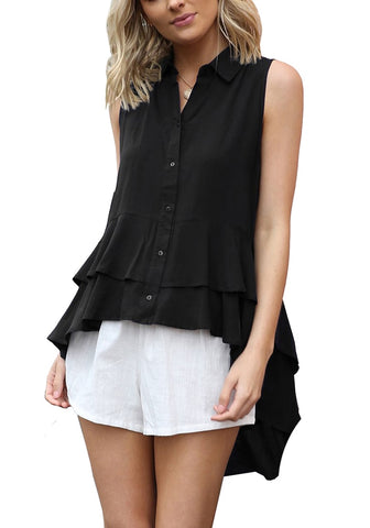 Black Layered Ruffle-Hem Sleeveless Button-Down Blouse