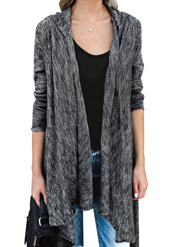 Black Long Sleeves Knitted Open Front Tassel Cardigan