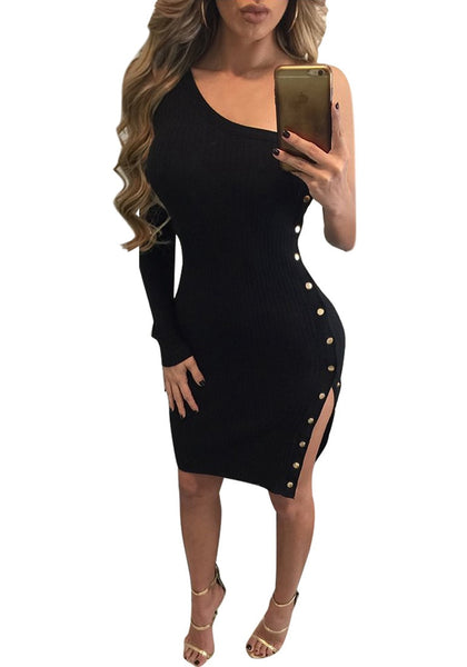 Front view of woman wearing black one-shoulder side buttons bodycon dress