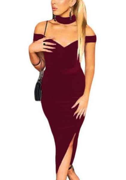 Front view of woman wearing burgundy off-shoulder choker bodycon dress