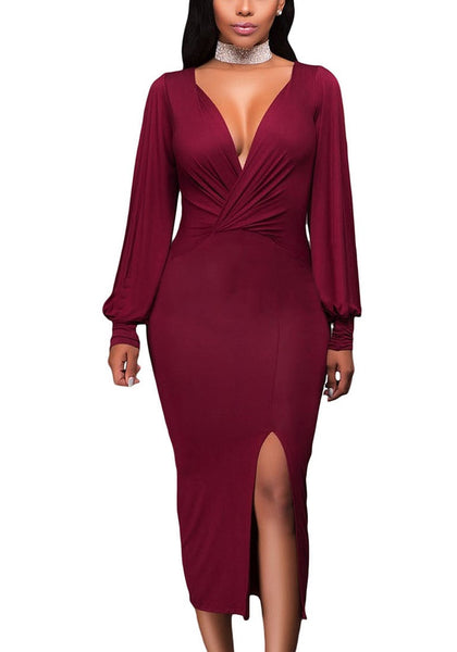 Front view of woman wearing burgundy split sleeve ruched midi dress