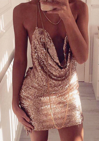 Champagne Cowl-Neck Open-Back Sequin Dress