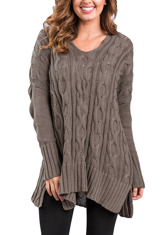Dark Khaki Ribbed Cable Knit Side-Slit Sweater