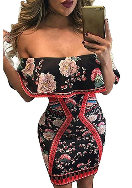 Front view of woman wearing floral ruffled off-shoulder dress