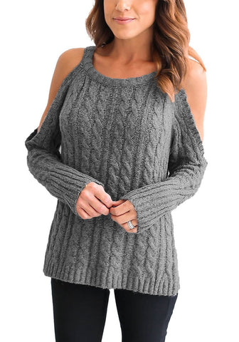Grey Cold-Shoulder Cable Knit Sweater