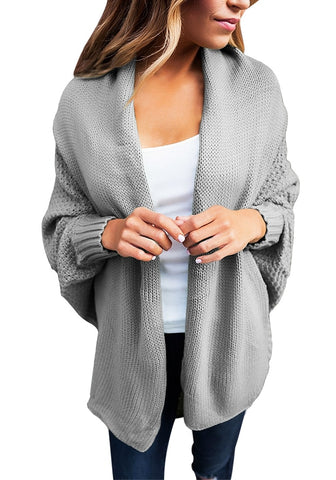 Grey Draped Lapel Batwing Sleeves Sweater Cardigan