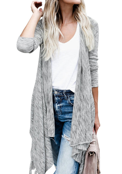 Front view of woman wearing grey long sleeves knitted open front tassel cardigan