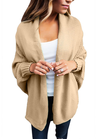 Light Khaki Draped Lapel Batwing Sleeves Sweater Cardigan