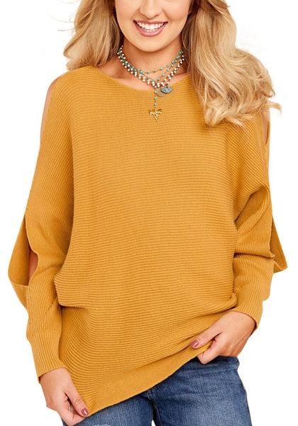 Front view of woman wearing mustard yellow cutout slit sweater