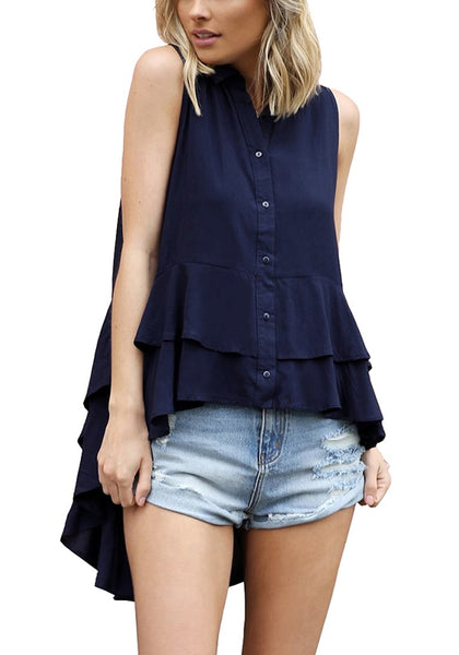 Front view of woman wearing navy layered ruffle-hem sleeveless button-down blouse