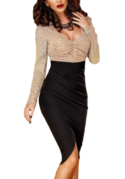 Front view of woman wearing sequin long sleeves wrap bottom dress